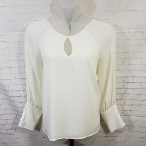 Lane Bryant Ivory Button Accent Blouse